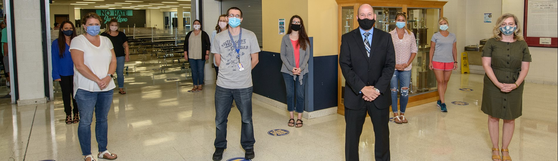 CMHS teachers social distancing and wearing masks