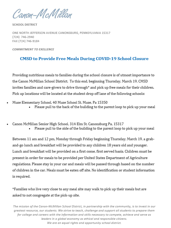 more information about CMSD's free meal service